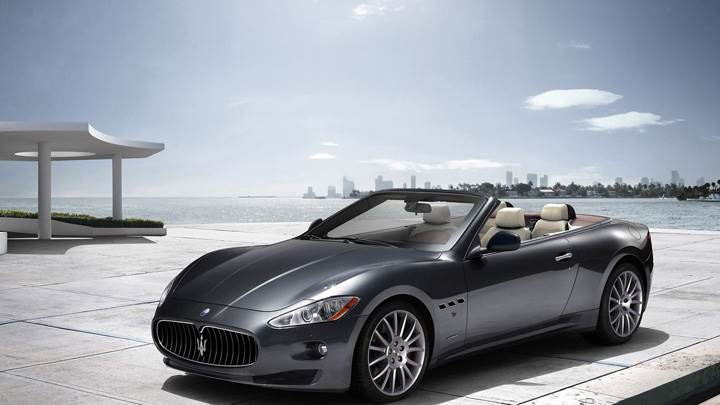 Maserati GranCabrio 2011 In Grey Side Pose At Sea Side